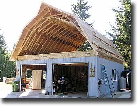 After new joists are down rebuild gambrel ceiling with pre fab trusses love the pointy - Gambrel pole barns style ...