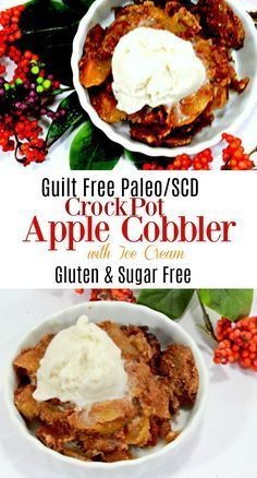 This scd crockpot apple cobbler is gluten free, sugar free, low carb, and is great for the specific carbohydrate diet, paleo diet, and a guilt free dessert. #SCD #GlutenFree #Paleo