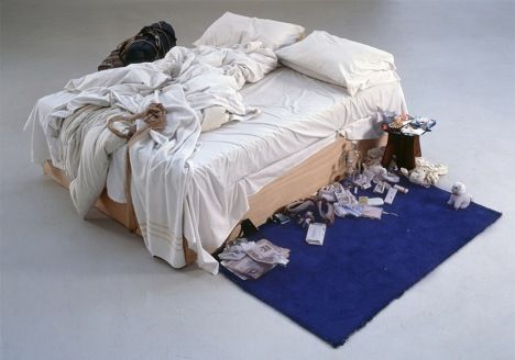 """Tracey Emin's bed returns to Tate Britain. Tracey Emin's My Bed, 1998""  I could easily best this installation."