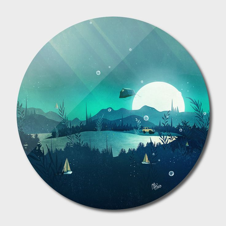 «Beneath Barafundle», Exclusive Edition Disk Print by Schwebewesen - From 80€ - Curioos vector digital art fantasy landscape camping moonlight tent flying surreal