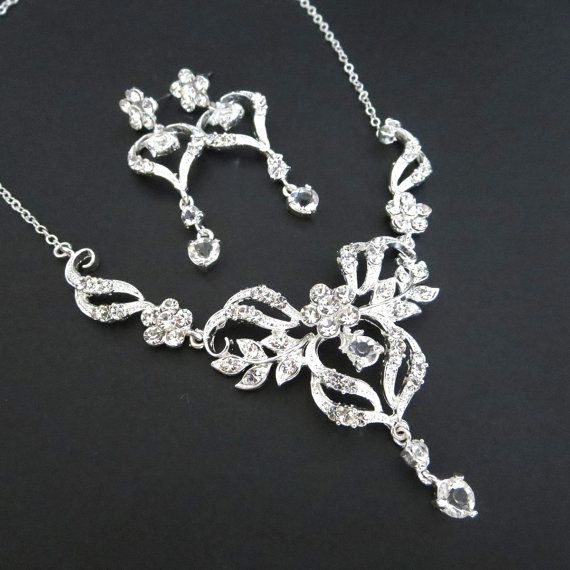 Wedding necklace set Bridal necklace and earrings Bridal