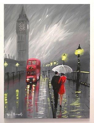 PETE RUMNEY ART LONDON RAIN BIG BEN RED BUS PAINTING BUY NEW ONLINE SIGNED