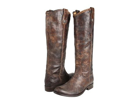Frye Melissa Button in chocolate vintage leather, $348
