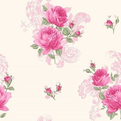 Tea Rose (M0752) - Crown Wallpapers - A pretty old-fashioned tea rose motif - perfect for a vintage shabby chic look. Shown in the pink marshmallow colourway. Please request sample for true colour match.