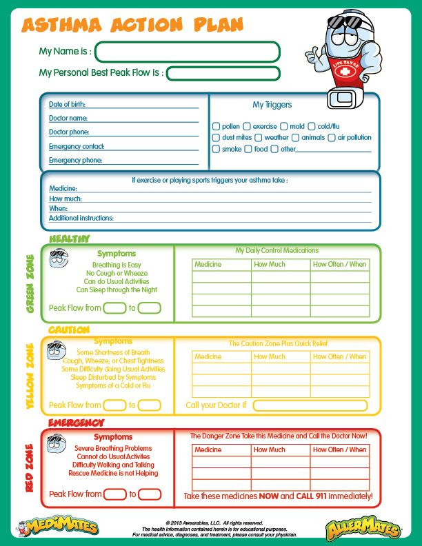 Emergency action plan sample easy to interpret food for My asthma action plan template