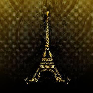 Digital-Art Eiffel Tower   Golden Flames #wallart #canvas #poster #Paris #EiffelTower #print #gold #golden #modern #trendy #typography #illustration #digitalart #digital #design #France #home #homedecor