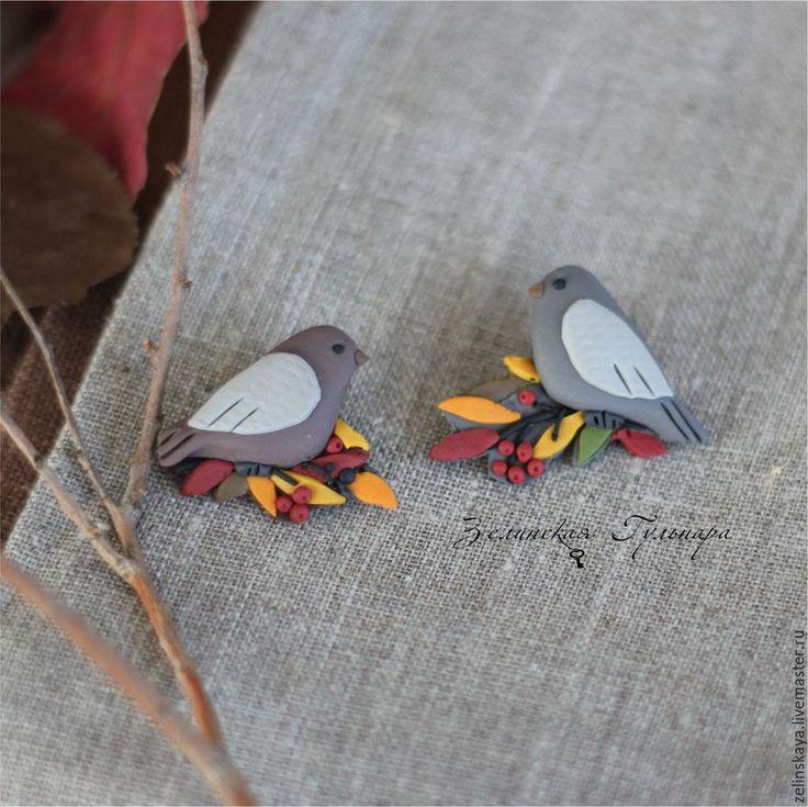 Купить Осенние птички. Брошь (на выбор) - оранжевый, красный, краски осени, птички