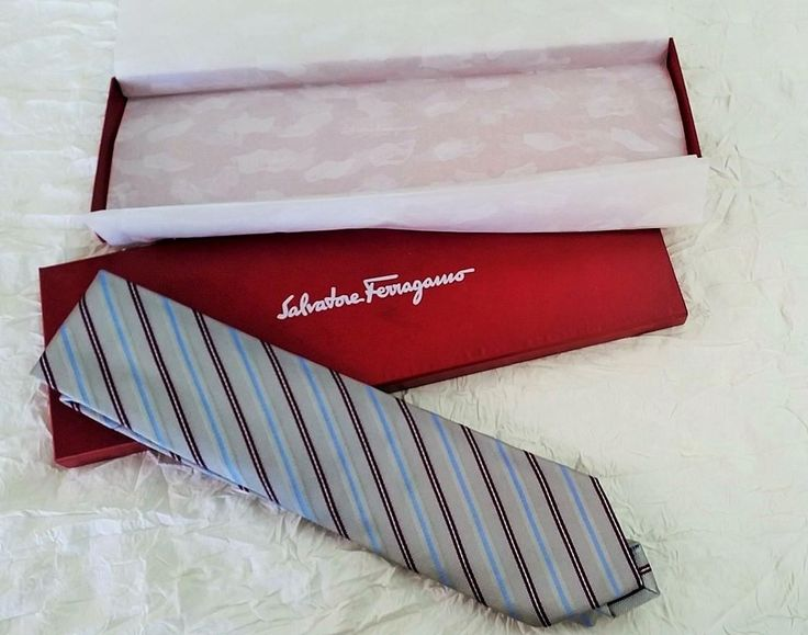 Salvatore Ferragamo Boxed Tie - Gray, Maroon & Blue, Silk / Cotton Blend, Italy