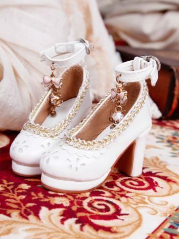 ドール靴 BJD SDサイズ人形用  白色 ハイヒール