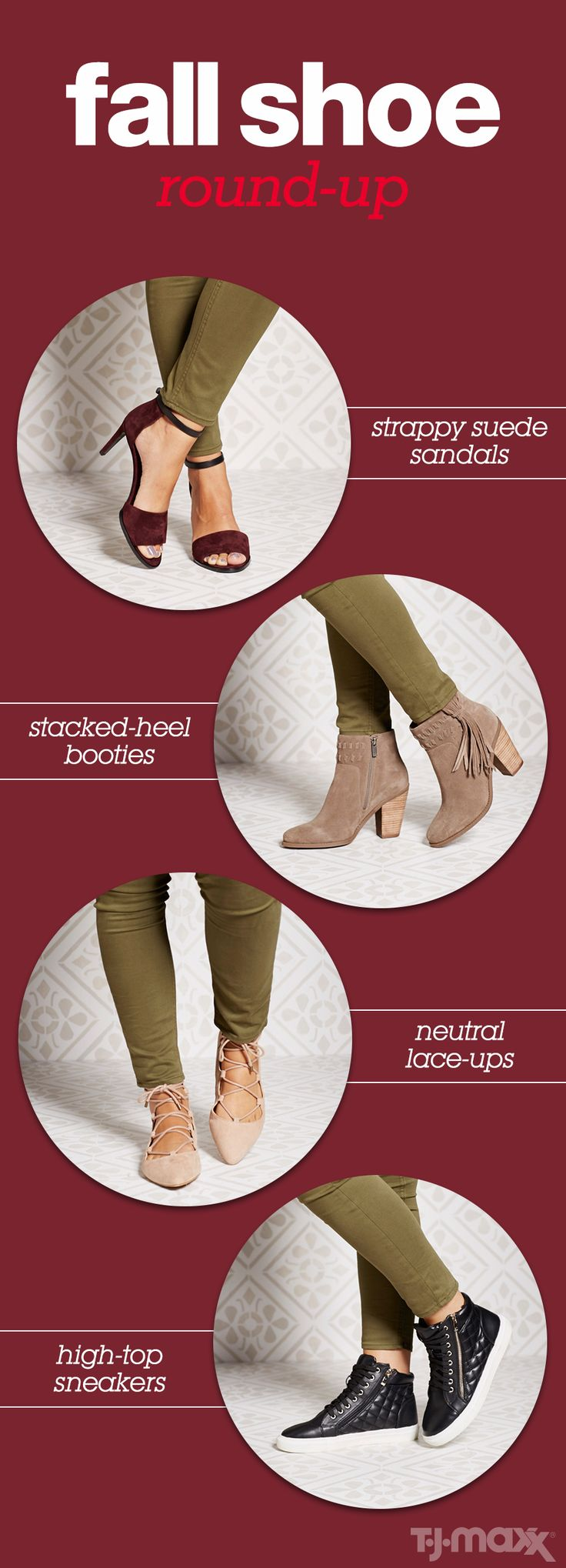Get your feet fall-ready with these essential shoe picks. Special occasion sandals in rich colors and textures like suede. A stacked heel bootie is a cool-weather must when you need to be comfortable but not too casual. Everyday flats get an upgrade this season with laces and a pointed toe. And weekends call for sneaker switch from white canvas to black leather high tops.