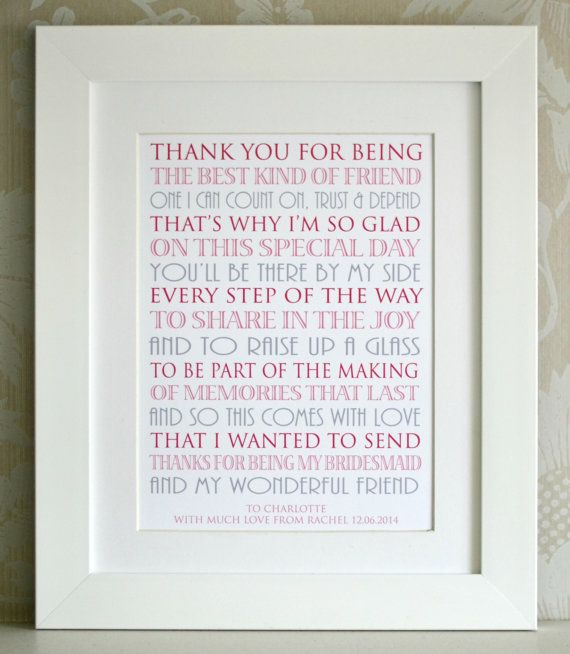 Wedding Thanks Quotes: Thank You For Being My Bridesmaid By AngelGiftCompany On
