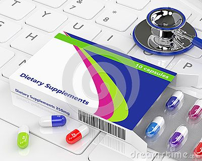 3d rendering of dietary supplements lying with stethoscope on keyboard