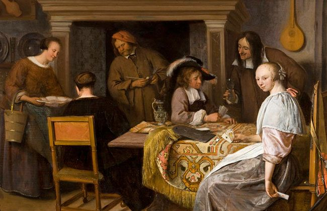 Jan Steen : The card Players in an Interior. | Cards ...