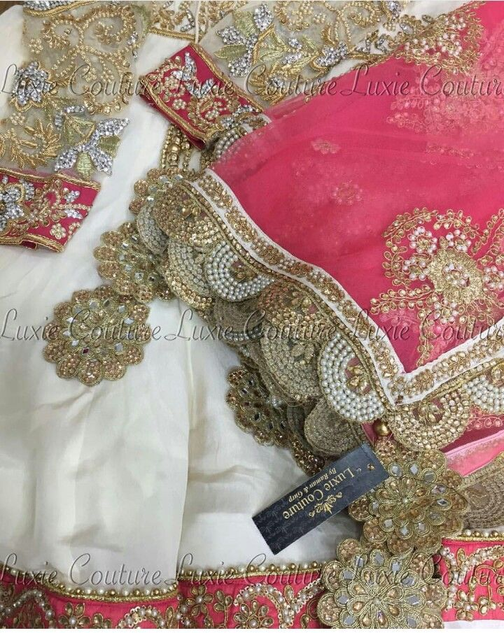 Pink white golden suit for day time occasions