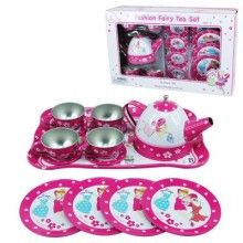 Remember the fantasy involved in a tea party? You'd invite your sister, your best friend or even just your toys. As the hostess you would gather the necessary supplies. Biscuits from the pantry if you were lucky or leaves and flowers from your garden would become gourmet treats thanks to a good imagination.  Spoil the little person in your life with this Fashion Fairy Tin Tea Set…who knows they could be the future cooks and restaurant owners.