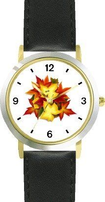 Autumn (Fall) Leaves with Two Ladybugs Kissing - WATCHBUDDY® DELUXE TWO-TONE THEME WATCH - Arabic Numbers - Black Leather Strap-Size-Children's Size-Small ( Boy's Size & Girl's Size ) WatchBuddy. $49.95. Save 38%!