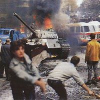 August 20, 1968: Soviet led Warsaw Pact forces invade Czechoslovakia to put an end to the uprising known as Prague Spring, uncredited photo.