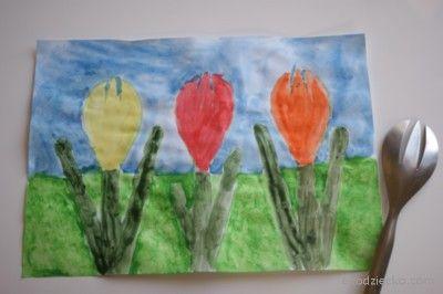 Tulipany odrysowane od widelca.