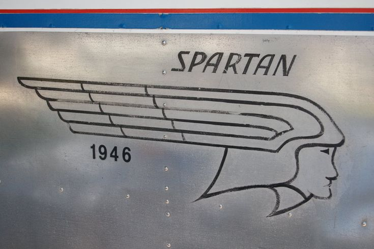 Vintage Spartan Logo on 1946 Spartan Manor Travel Trailer. Lots of great Spartans on this sight. Exteriors & Interiors.