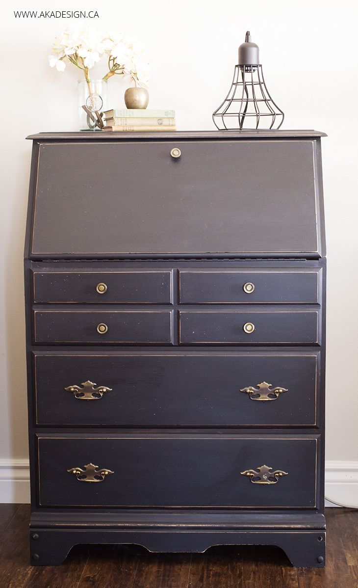 Painted Secretary Desk in Fusion Mineral Paint&39s Coal Black