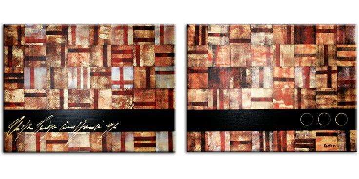 Modern 2 luik schilderij in hoofdzakelijk bruine kleuren.