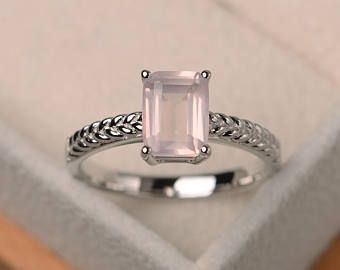 Anillo de cuarzo rosa natural, anillo de compromiso, piedras preciosas rosa corte esmeralda, anillo solitario, anillo de plata esterlina