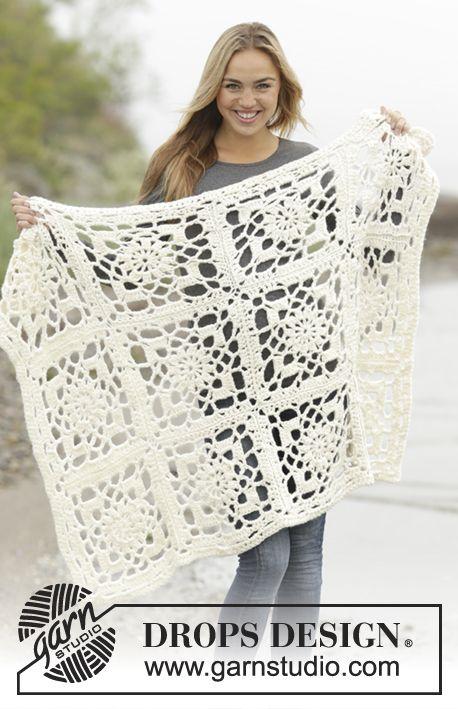 """Winter Crystal - Frazada DROPS en ganchillo, compuesta por cuadrados, en """"Eskimo"""". - Free pattern by DROPS Design"""