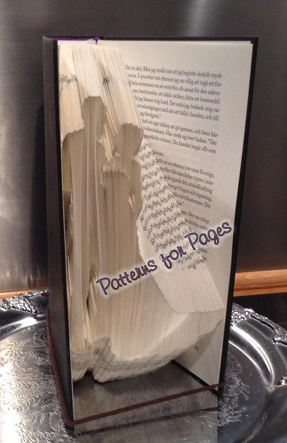 Book folding pattern for a BRIDE AND GROOM by PatternsForPages on Etsy