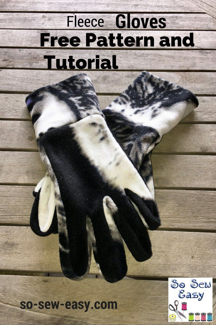 Unisex Easy to make Fleece Gloves pattern and tutorial. S to XL.