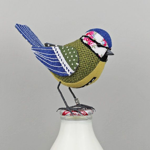 Blue-Tit Sculpture FABRIC BIRD Made to Order by TheCottonPotter
