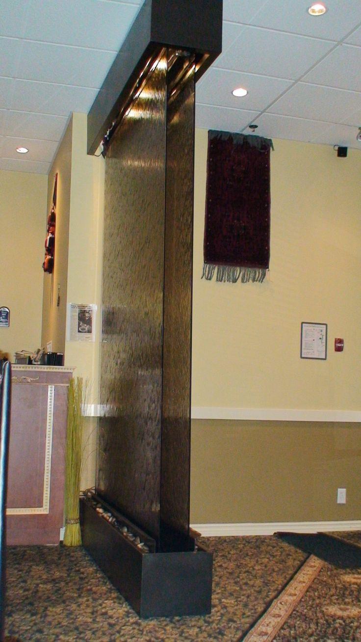 Frameless Glass Waterfall. Custom Water Wall. Double Brown Glass Panel. Powder Coated Metal Frame. http://waterfallnow.com https://waterfalldecor.com