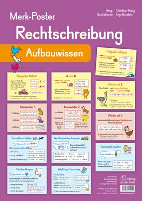 Merk-Poster - Rechtschreibung – Aufbauwissen ++ #Poster für den #Klassenraum, Fach: #Deutsch, #DaZ, Klasse 3 und 4 ++ Dekorative Poster mit den wichtigsten Rechtschreib-Regeln + Zur Erarbeitung oder als Gedächtnisstütze + Einfache Regeln, Nachdenkwörter, Merkwörter, Rechtschreib-Strategien + Sinnvolle Ergänzung zu den übrigen Merk-Postern | #Grundschule #Deutschunterricht #Rechtschreibung #Förderung
