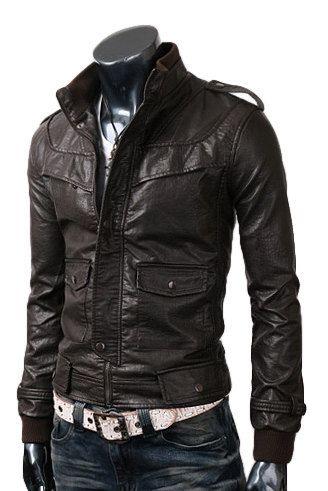 Handmade Men's Dark brown Leather Jacket