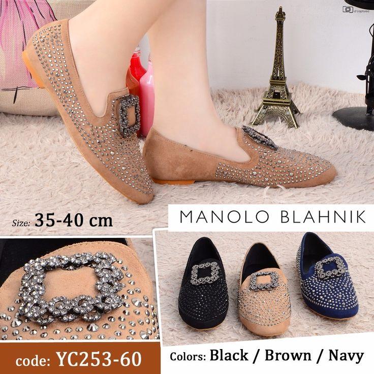 Promo Sepatu Manolo Blahnik YC253-60 Navy 36 Black 36,37 Khaki 35,36,37 210rb