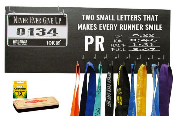 $39.99 by far the best price on ETSY and the lowest shipping. Write up your own PR on this chalkboard medal holder with race bibs display, Perfect Running gifts for any runner in your life, Marathon medal display 5k10k races. Cutest running race board rack and hanger. runningonthewall
