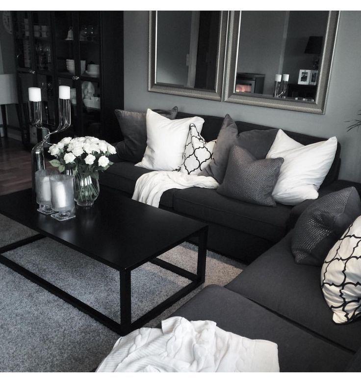Jan 17 2020 Beautiful Grey White Black Living Room Decor Ideas And Remodel 4 In 2020 White Living Room Decor Black Living Room Decor Living Room Decor Gray