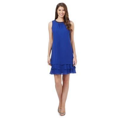 Debut Bright blue beaded layered dress- | Debenhams