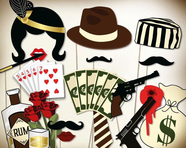 Gangster party photo booth props printable PDF. Prohibition era party supplies. Great Gatsby props. Mafia party. New years photo booth props by PartyGraphix on Etsy https://www.etsy.com/listing/260780020/gangster-party-photo-booth-props