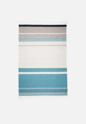 Sixth Floor Colourful Teal Stripe Rug Handwoven Cotton Dhurrie