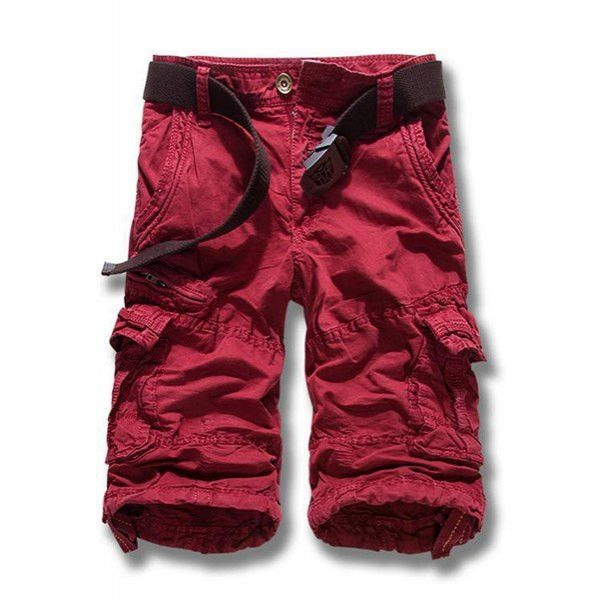 Multi-Pocket Solid Color Straight Leg Zipper Fly Loose Fit Cargo Shorts For Men