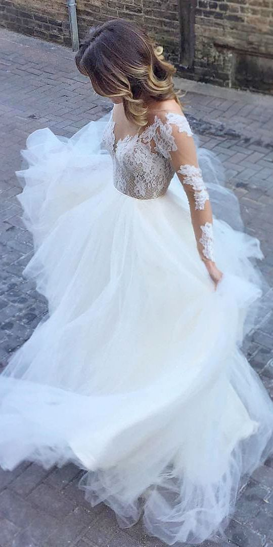 a line bridal dresses with lace long sleeves by hayley paige