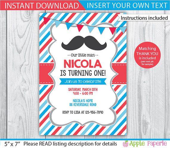 little man mustache invitation /mustache invitation / mustache invite / 1st birthday mustache invitation / mustache printable / INSTANT by ApplePaperie on Etsy