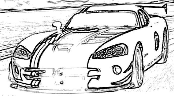 dodge viper acr sport coloring page