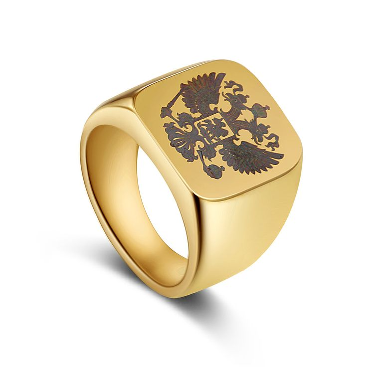 Polished Band Biker Men's ring a coat of arms of the Russian Signet Ring men rings stainless steel brand