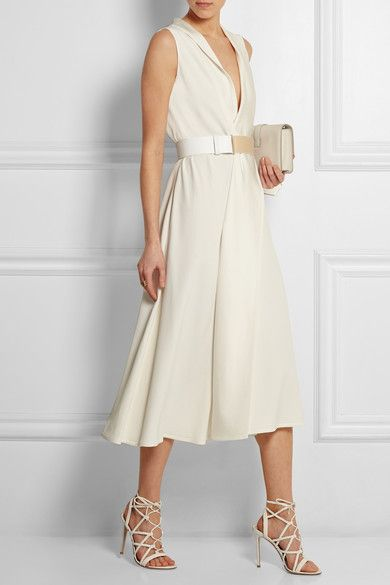 Ivory crepe Concealed zip fastening along side 69% acetate, 31% viscose; belt: 100% leather (Cow) Dry clean