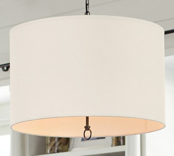 Pottery Barn Kitchen Light Fixtures Linen Drum Pendant | New House | Dining Room Light Fixtures, Kitchen Lighting, Kitchen Lighting
