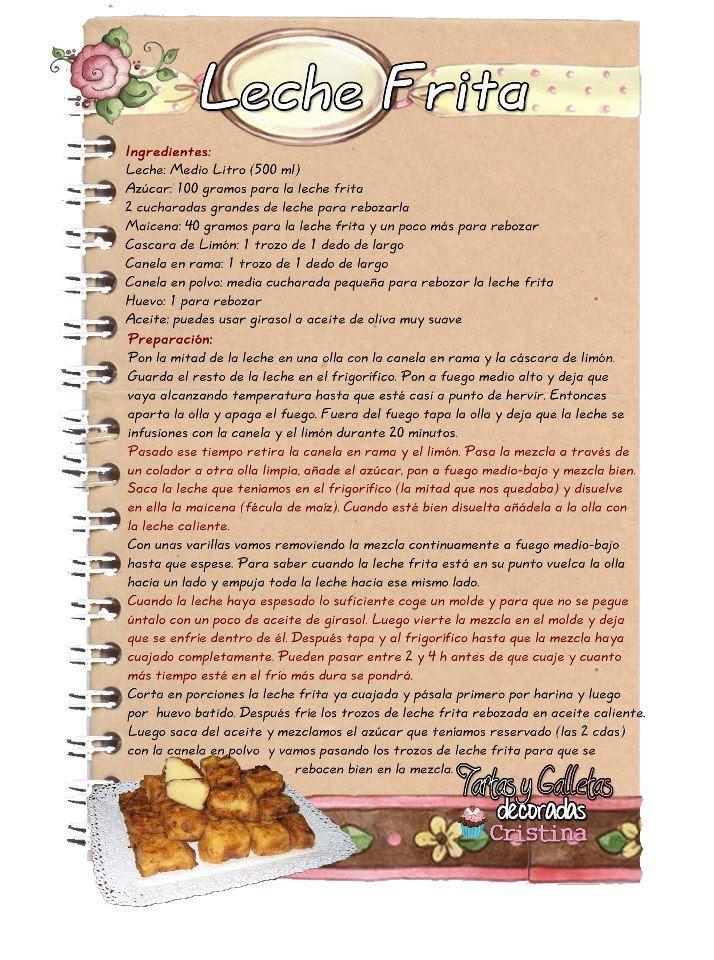 Leche Frita. La leche frita es un dulce de harina cocida con leche y azúcar hasta que espesa, cortándose la masa resultante en porciones que sefríen. Suele servirse habitualmente como un postre, espolvoreada con azúcar y canela en polvo, siendo una receta típica del norte de España. El origen de la receta es incierto, reivindicando varias regiones españolas su autoría, si bien se suele considerar que surgió en Palencia, propagándose luego por diversas provincias.