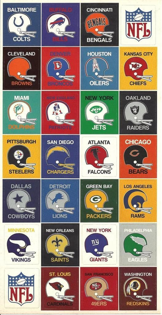 NFL football helmets from the 70's. #NFL #Football #Vintage