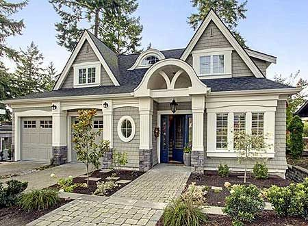 Plan W23477JD: Premium Collection, Country, Luxury, Cottage, Narrow Lot, Photo Gallery, Vacation, Northwest, Sloping Lot House Plans & Home Designs