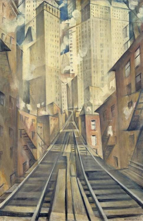 NYC. Christopher Richard Wynne Nevinson - The Soul of the Soulless City ('New York - an Abstraction') - 1920 Painting